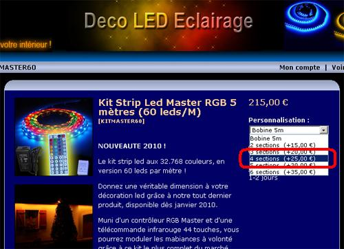 Ruban led sur mesure divisé en 4 sections