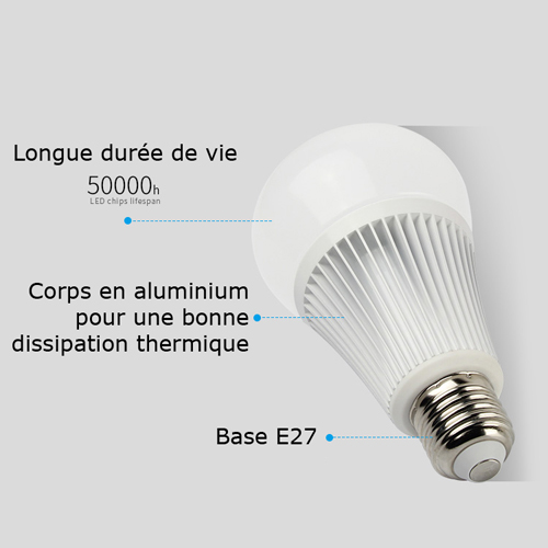 ampoule E27 RGB blanc variable 9W pic4