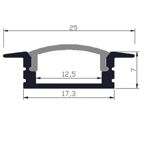 Profilé led encastrable complet en alu 25 x 7 mm - modèle PRFENC1204 ...