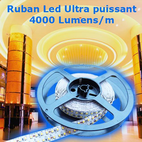 ruban led ultra puissant blanc naturel 240 leds m 4000 lumens deco led eclairage. Black Bedroom Furniture Sets. Home Design Ideas