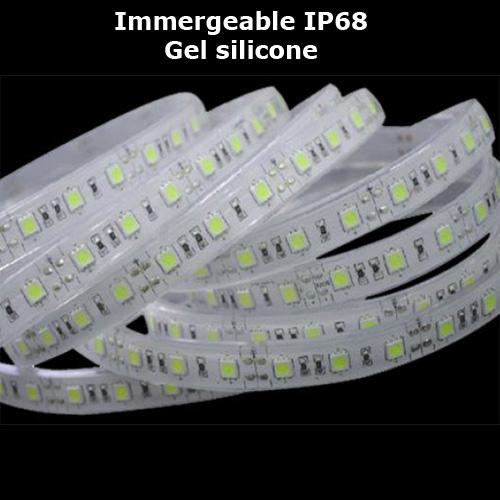 strip led IP68 gel silicone blanc naturel 120 vendu au metre