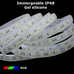 strip led RGB IP68 gel silicone 30 leds par metre