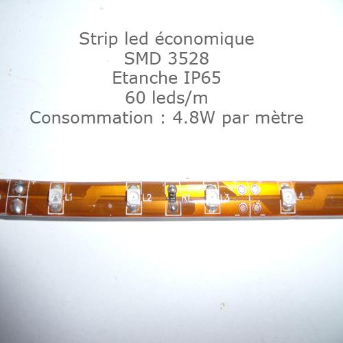 strip led SMD3528 60 leds par metre
