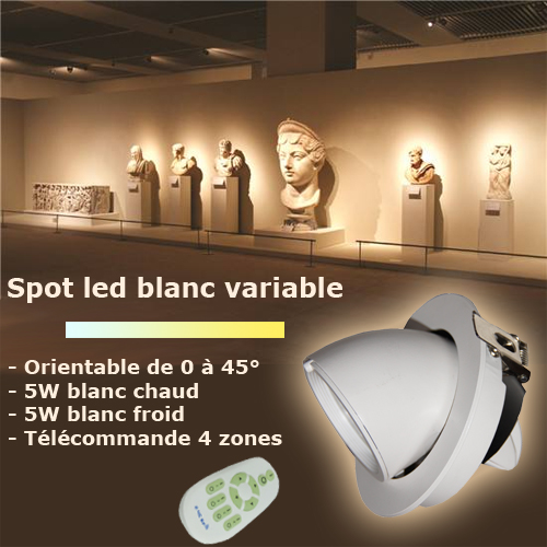 Spot led blanc variable orientable de 0 à 45 degrés